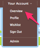 The Child's World: Your account menu