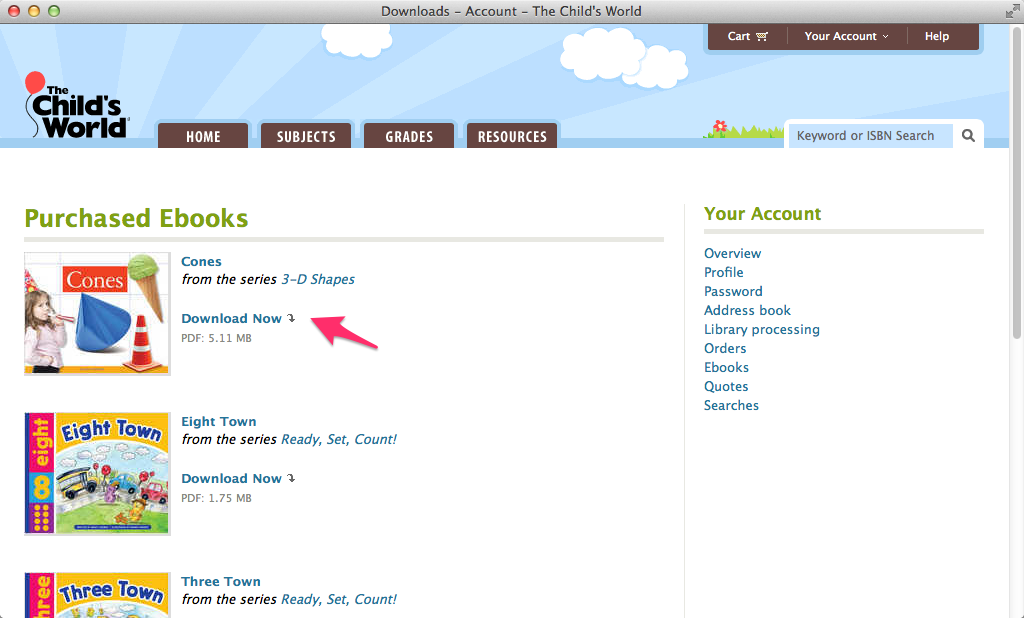 The Child's World: Purchased ebooks page