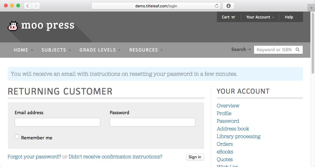 Demo: Forgot password confirmation