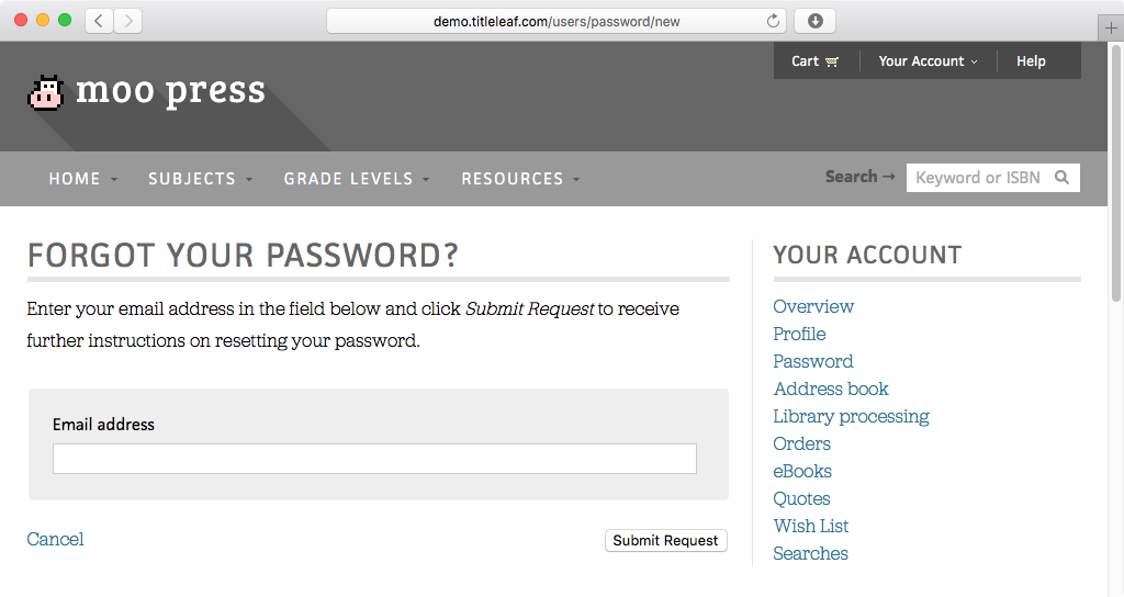 Demo: Forgot password form