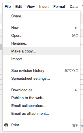 Google Doc: File menu, Make a copy
