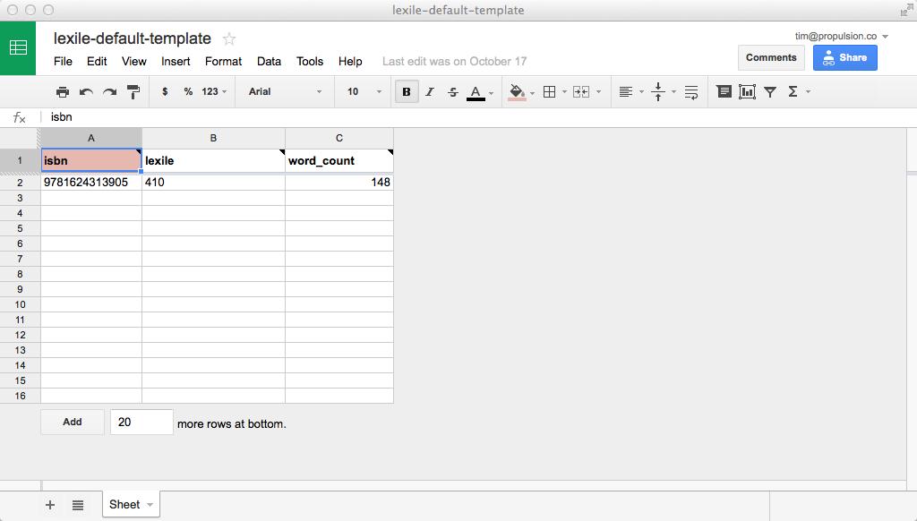 Google Doc: lexile template