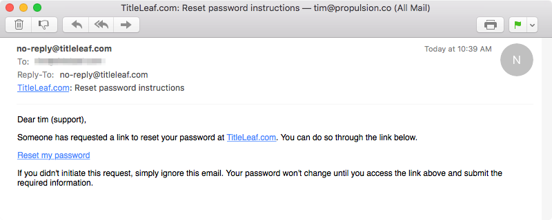 Mail: Forgot password instructions