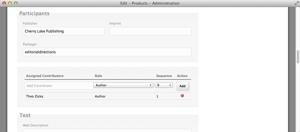 TitleLeaf: Edit product page, participants section