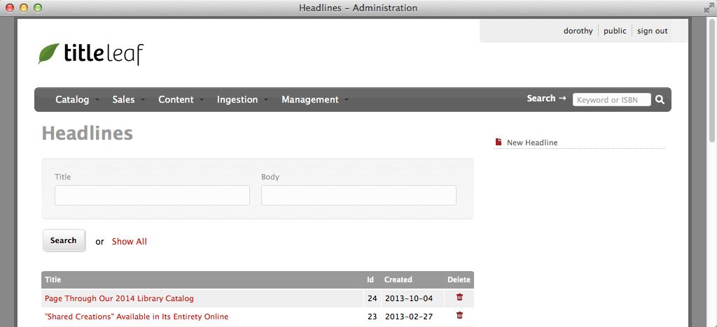 Headline index page