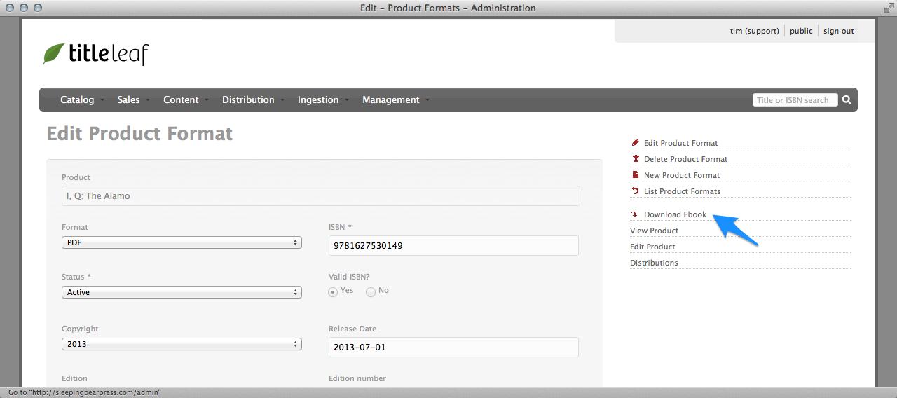 Edit product format, Download ebook link