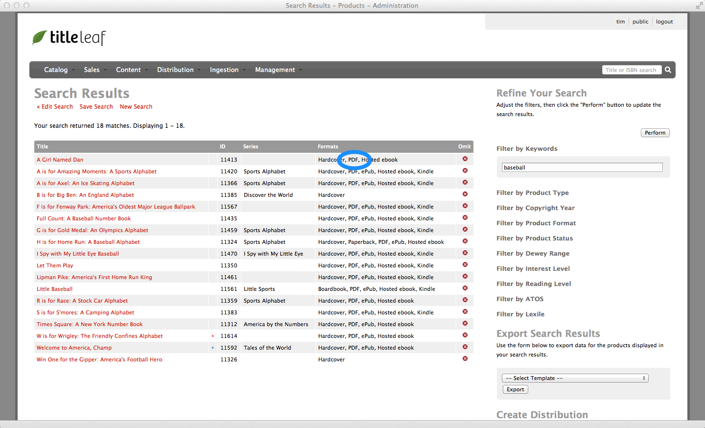 Admin search results, Highlight PDF in formats column