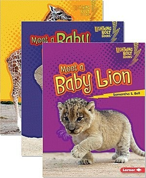 Cover: Lightning Bolt Books ™ — Baby African Animals — Interactive Books Set