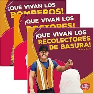 Cover: Bumba Books ™ en español — ¡Que vivan los ayudantes comunitarios! (Hooray for Community Helpers!) — Hardcover Set
