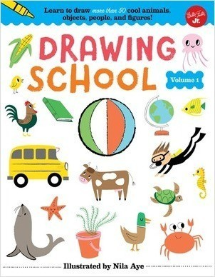 Cover: Drawing School—Volume 1: Learn to draw more than 50 cool animals, objects, people, and figures!